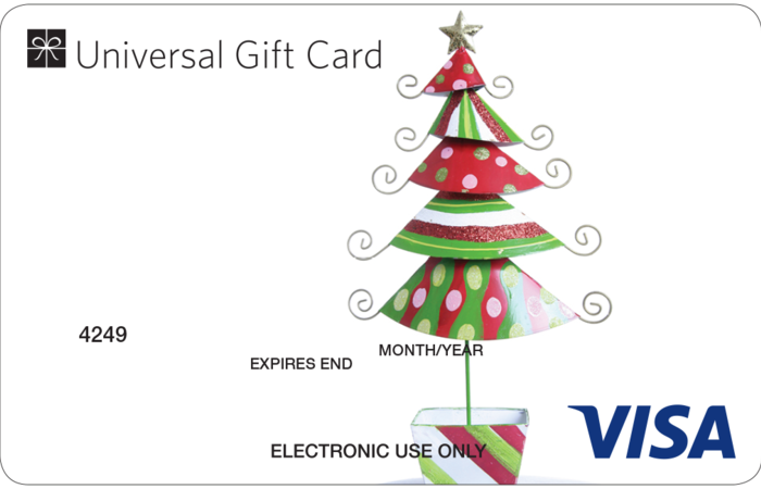 Universal visa gift card christmas tree negle