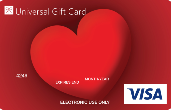 Universal Visa Gift Card I Love you-Heart