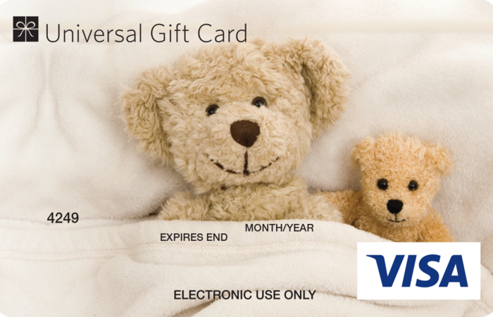 Universal VISA Gift Card Teddy Bear