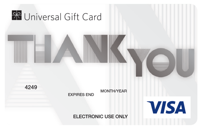 Large zenith payments thank you ugc visa card front