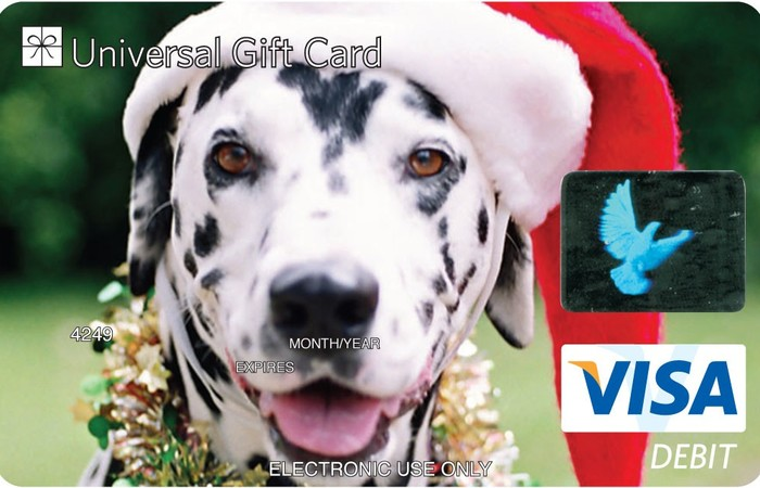 Universal Visa Gift Card Christmas Dog