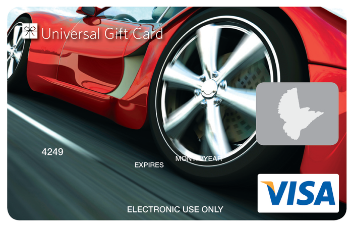 Universal Visa Gift Card Red Sports Car